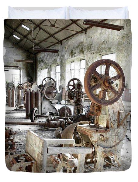 Rusty Machinery Duvet Cover by Carlos Caetano