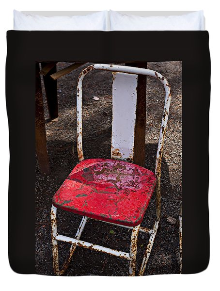 Rusty Metal Chair Duvet Cover by Garry Gay
