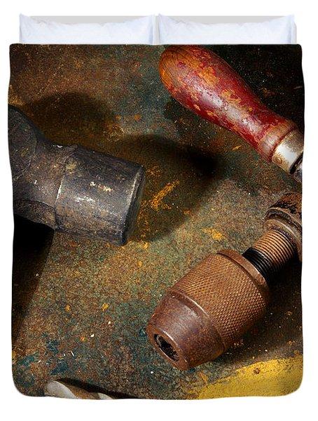 Rusty Tools Duvet Cover by Carlos Caetano