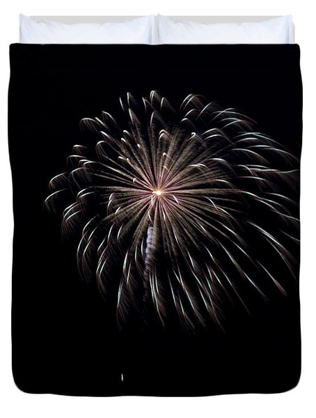 Duvet Cover featuring the photograph Rvr Fireworks 10 by Mark Dodd