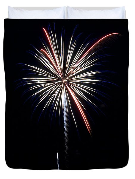 Duvet Cover featuring the photograph Rvr Fireworks 11 by Mark Dodd