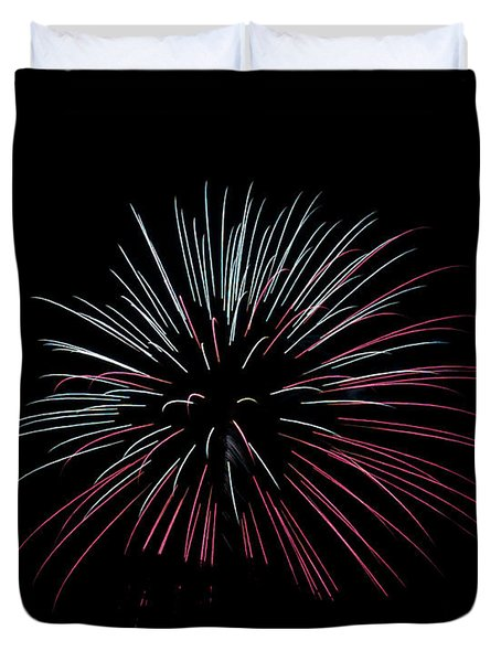 Duvet Cover featuring the photograph Rvr Fireworks 15 by Mark Dodd