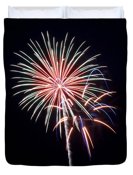 Duvet Cover featuring the photograph Rvr Fireworks 16 by Mark Dodd