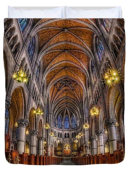 Sacred Heart Basilica Duvet Cover by Susan Candelario
