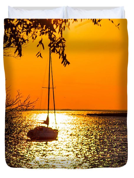 Duvet Cover featuring the photograph Sail Away by Shannon Harrington