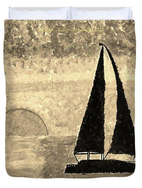 Sail In Sepia Sea Duvet Cover by Sonali Gangane