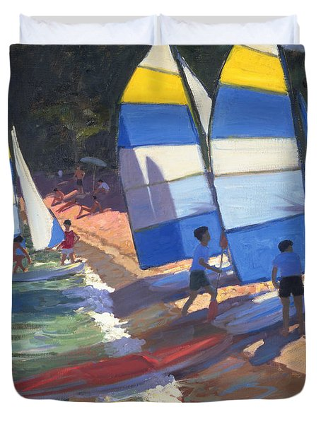 Sailboats South Of France Duvet Cover by Andrew Macara