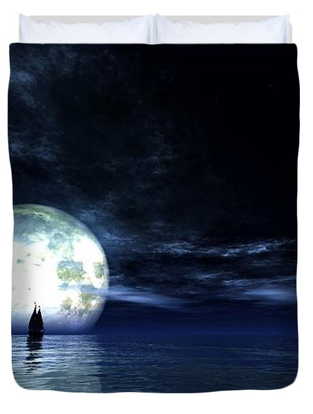Sailing At Night... Duvet Cover by Tim Fillingim