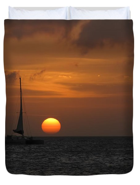 Duvet Cover featuring the photograph Sailing Away by David Gleeson