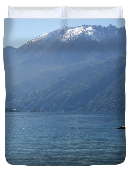 Sailing Boat And Mountain Duvet Cover by Mats Silvan