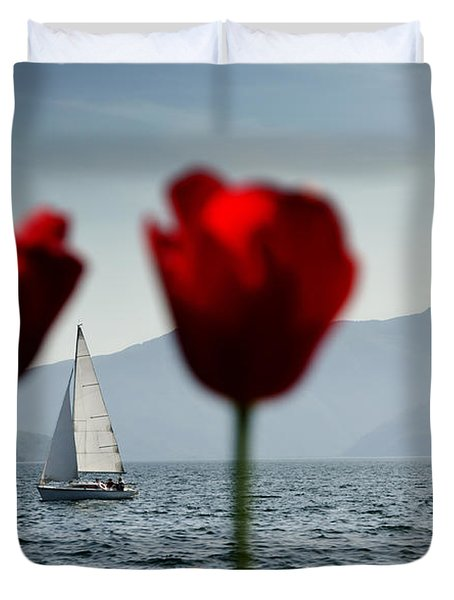 Sailing Boat And Tulip Duvet Cover by Mats Silvan