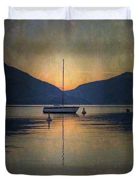 Sailing Boat At Night Duvet Cover by Joana Kruse