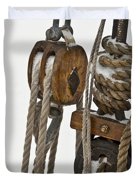 Sailing Boat Detail With Snow Duvet Cover by Heiko Koehrer-Wagner