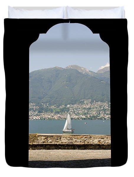 Sailing Boat Through An Open Door Duvet Cover by Mats Silvan
