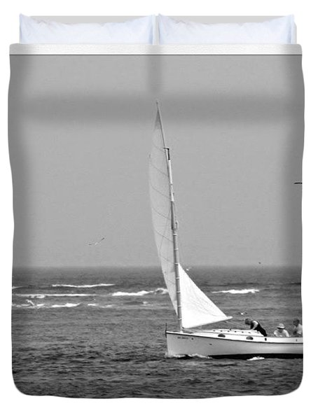 Sailing In Bw Duvet Cover