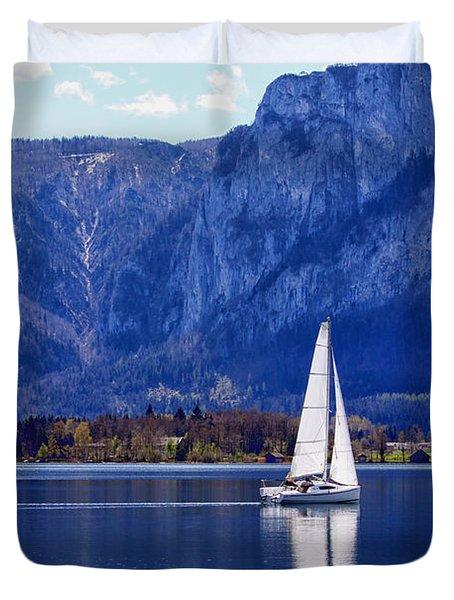 Sailing On Mondsee Lake Duvet Cover by Lauri Novak