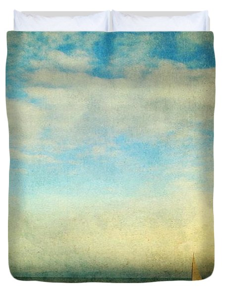 Duvet Cover featuring the photograph Sailing On The Sea by Michele Cornelius