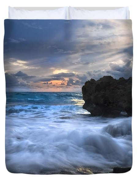 Sailing On The Silk Blue Sea Duvet Cover by Debra and Dave Vanderlaan