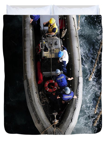 Sailors Conduct A Man Overboard Drill Duvet Cover by Stocktrek Images
