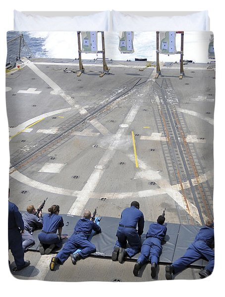 Sailors Fire M4a1 Carbine Assault Duvet Cover by Stocktrek Images
