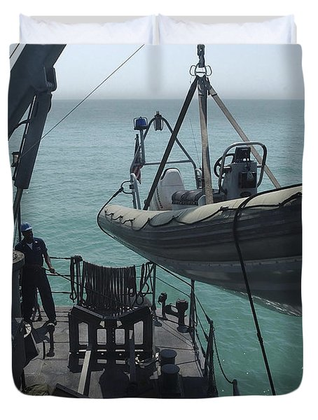 Sailors Lower A Rigid Hull Inflatable Duvet Cover by Stocktrek Images