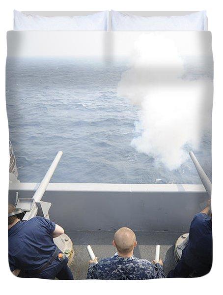 Sailors Perform A 21-gun Salute Aboard Duvet Cover by Stocktrek Images