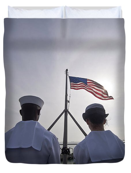 Sailors Stand By To Lower The Ensign Duvet Cover by Stocktrek Images