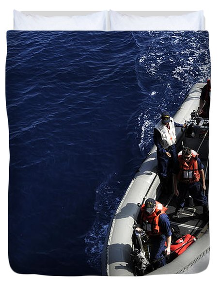 Sailors Stand Watch On A Rigid-hull Duvet Cover by Stocktrek Images