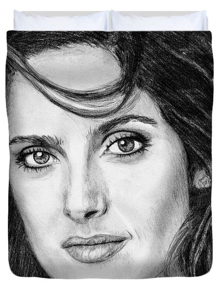Duvet Cover featuring the drawing Salma Hayek In 2005 by J McCombie