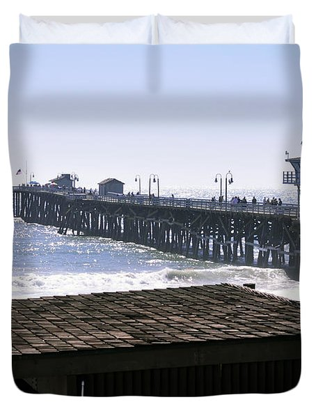 San Clemente Pier California Duvet Cover by Clayton Bruster