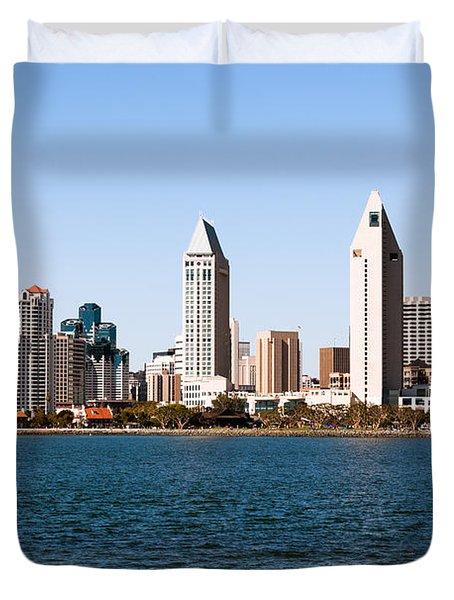 San Diego City Skyline Duvet Cover by Paul Velgos