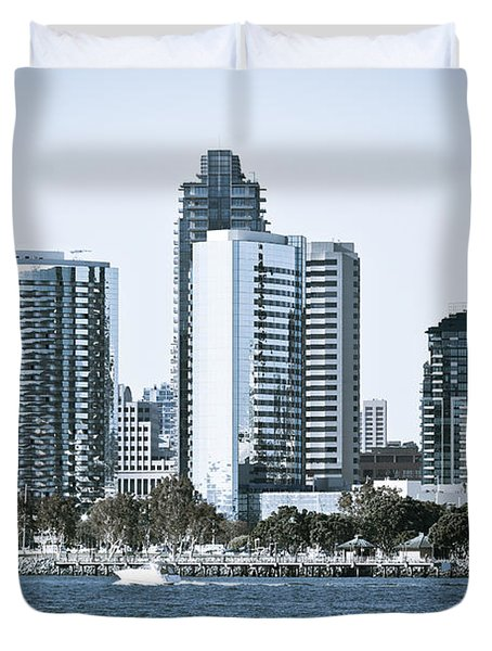 San Diego Downtown Waterfront Buildings Duvet Cover by Paul Velgos