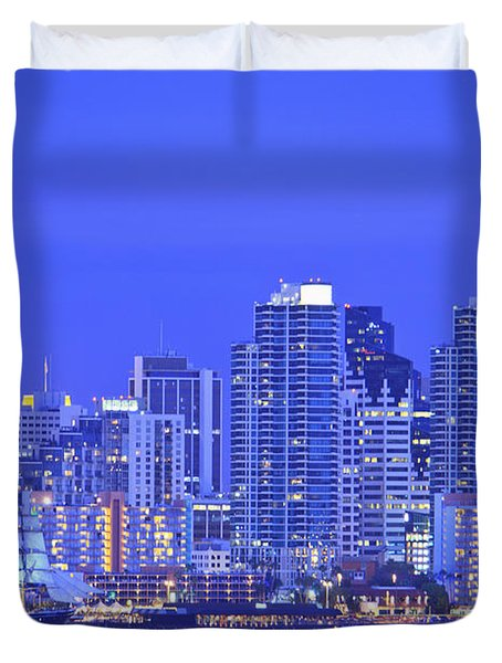 San Diego Skyline And Harbour Island Duvet Cover by Stuart Westmorland