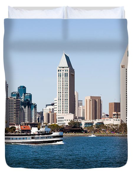 San Diego Skyline And Tour Boat Duvet Cover by Paul Velgos
