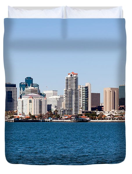 San Diego Skyline Buildings Duvet Cover by Paul Velgos