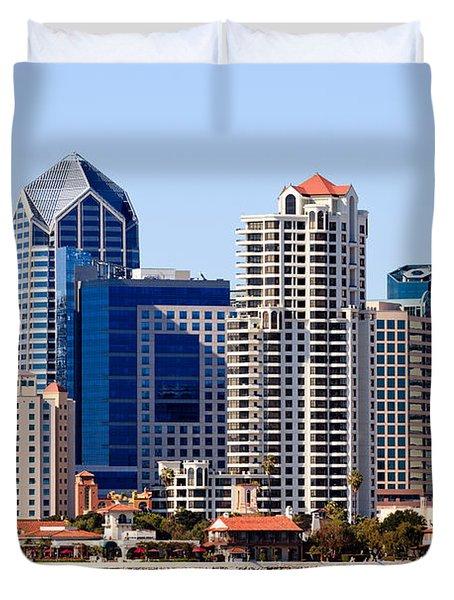 San Diego Skyline Photo Duvet Cover by Paul Velgos