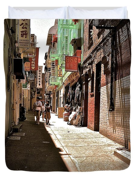 Duvet Cover featuring the photograph San Fran Chinatown Alley by Bill Owen