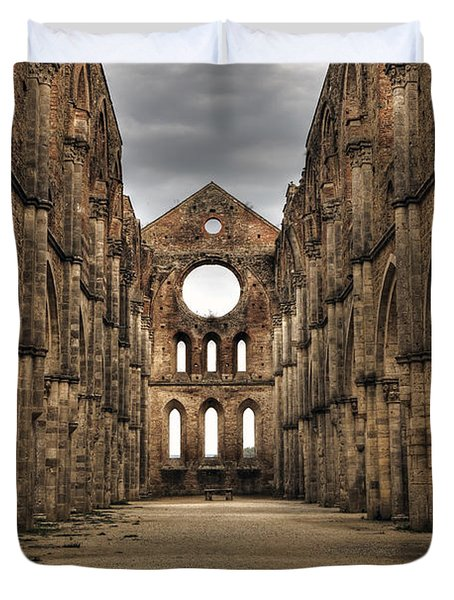 San Galgano  - A Ruin Of An Old Monastery With No Roof Duvet Cover by Joana Kruse