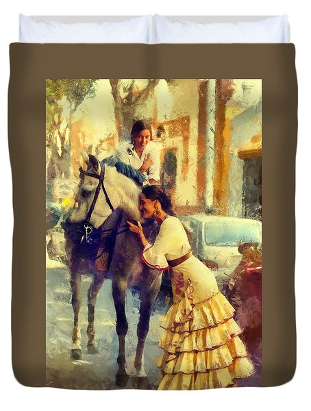 San Miguel Fair In Torremolinos Duvet Cover by Jenny Rainbow
