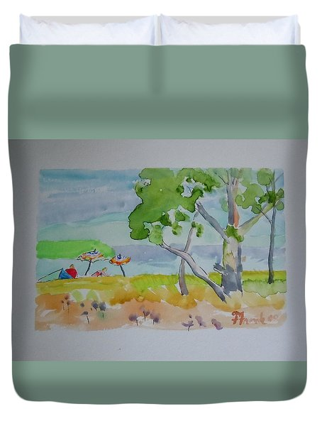 Duvet Cover featuring the painting Sandpoint Bathers by Francine Frank