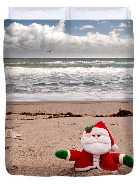 Santa At The Beach Duvet Cover