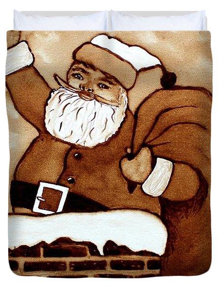 Santa Claus Gifts Original Coffee Painting Duvet Cover by Georgeta  Blanaru