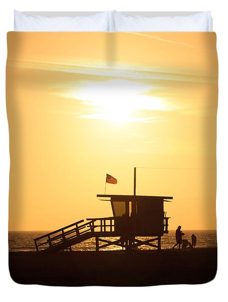 Santa Monica California Sunset Photo Duvet Cover
