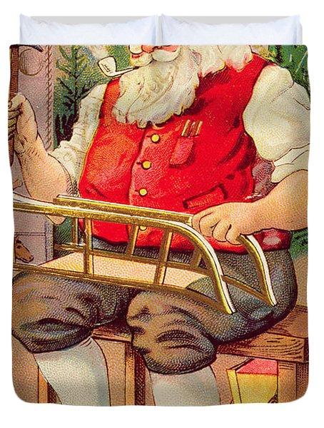 Santa's Workshop Duvet Cover by English School