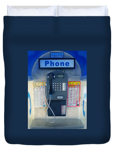 Duvet Cover featuring the photograph Santorini Island Greece Telephone Box by Colette V Hera  Guggenheim