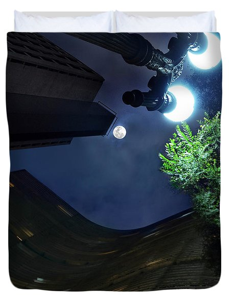 Copan Building And The Moonlight Duvet Cover