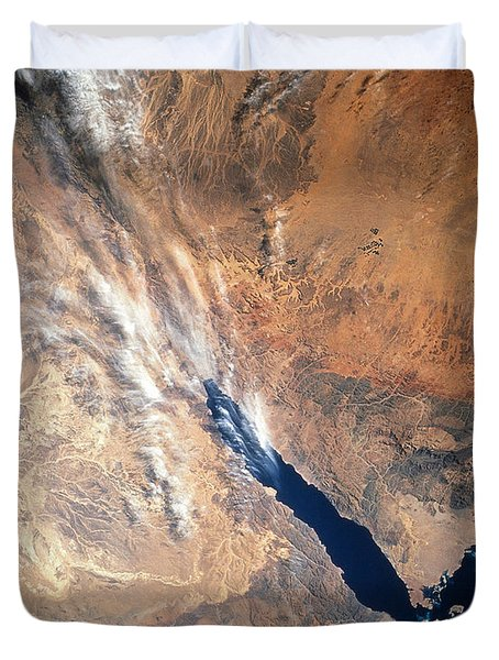 Satellite Image Of Land Duvet Cover by Stocktrek Images