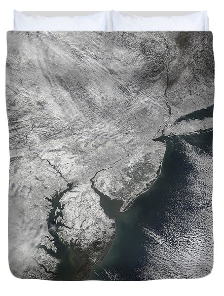 Satellite View Of A Noreaster Snow Duvet Cover by Stocktrek Images