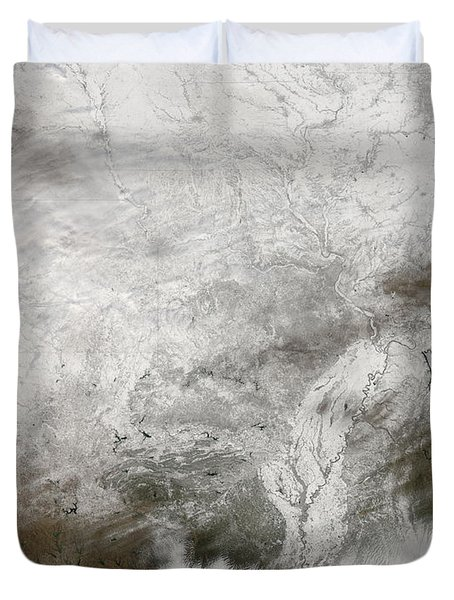 Satellite View Of A Severe Winter Storm Duvet Cover by Stocktrek Images