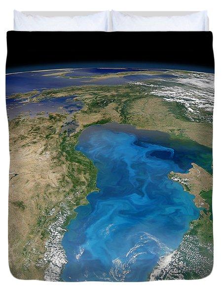 Satellite View Of Swirling Blue Duvet Cover by Stocktrek Images